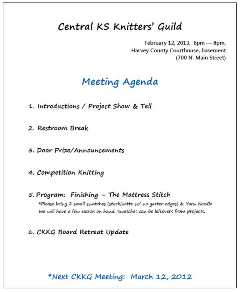 Feb CKKG Agenda