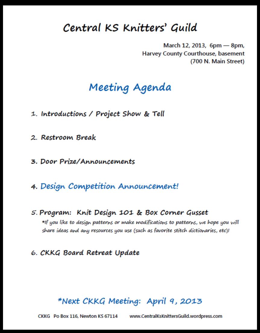 March CKKG Agenda