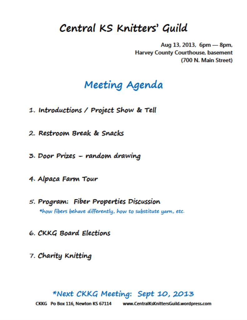 Aug CKKG Agenda