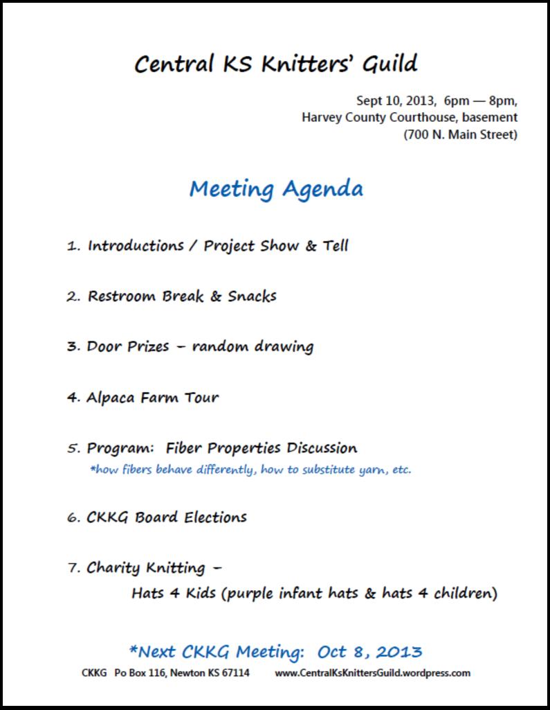 Sept CKKG Agenda