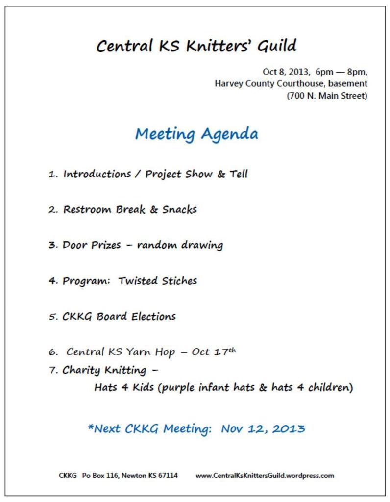 Oct CKKG agenda