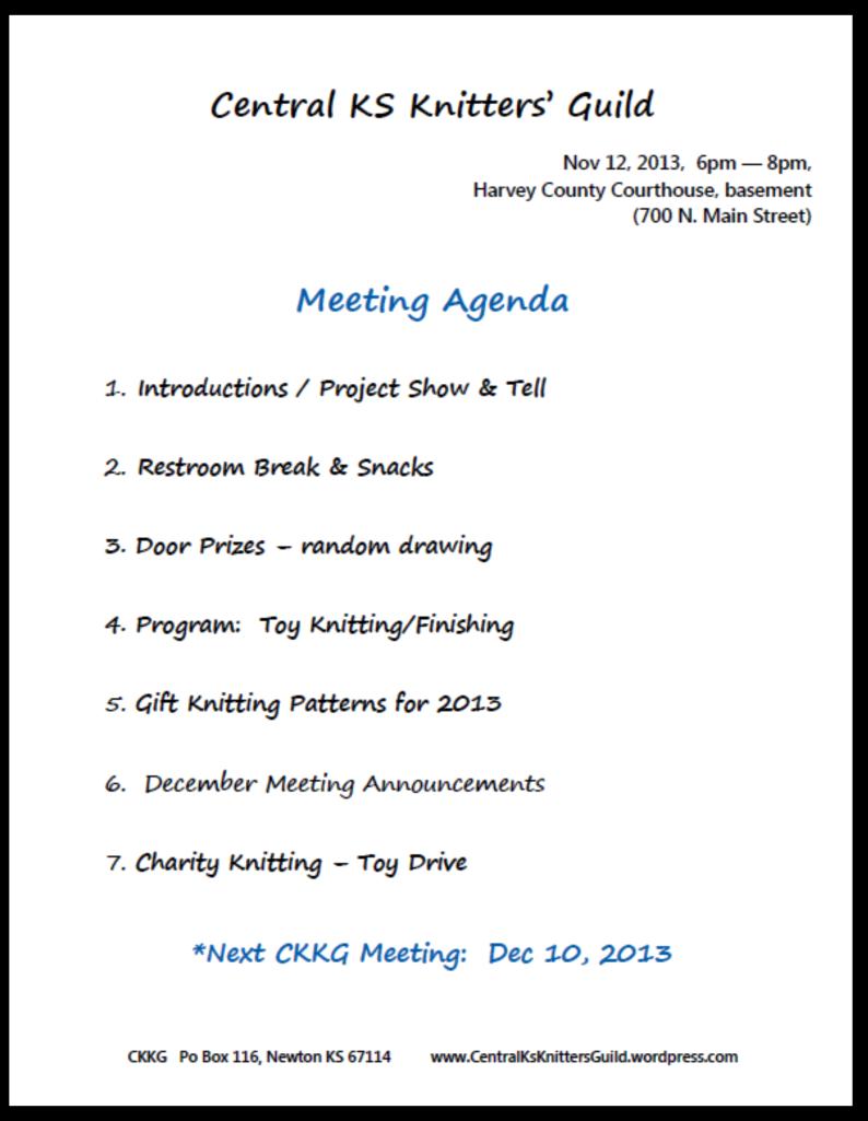 Nov CKKG Agenda
