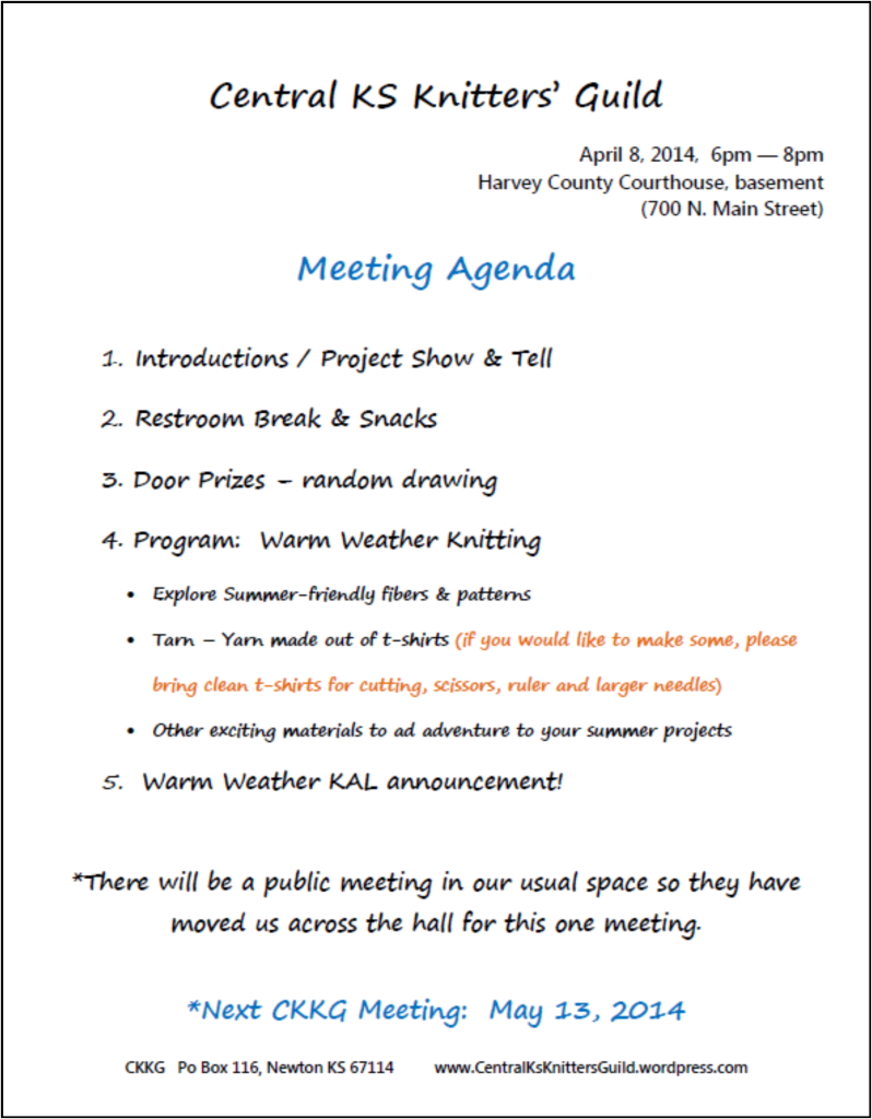 April agenda